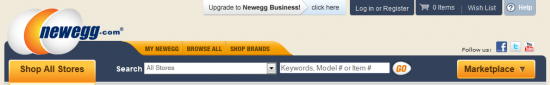 Header bei newegg.com