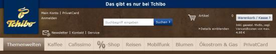 Header bei tchibo.de