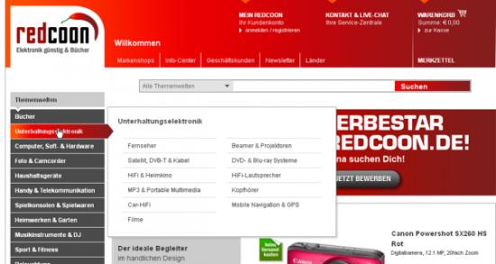 Navigation bei redcoon.de:
