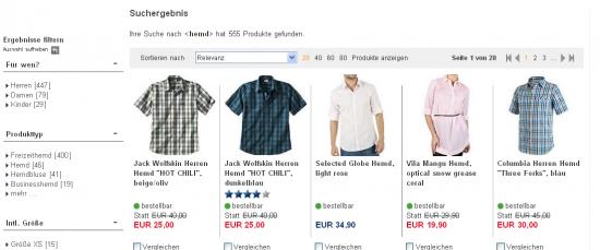 Beispiel karstadt.de: Deutliche Abgrenzung von der Gestaltung der  Produktfilter