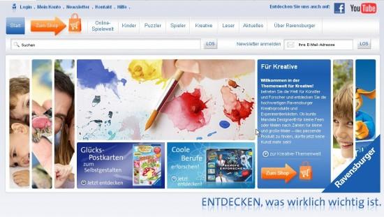 Bühne von ravensburger.de: Die Kategorien der Hauptnavigation werden einzeln vorgestellt.