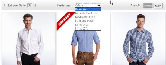 Beispiel kaufhof.de: bei Miniaturansichten bietet sich die Sortierung über Dropdowns an