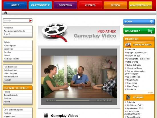 """""""Gameplay-Videos"""" auf schmidtspiele.de: Per Video werden Spiele vorgestellt."""