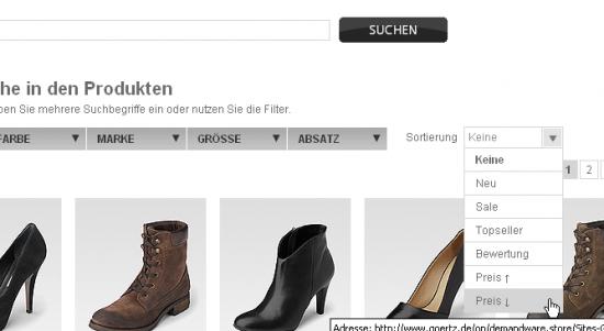 Beispiel goertz.de: Nutzung des Dropdowns ist mit einem Klick möglich