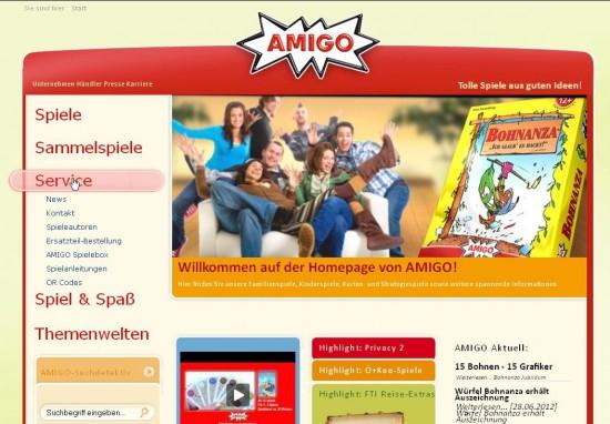 Startseite von amigo-spiele.de: Die dynamische Hauptnavigation lässt die Suchfunktion häufig aus dem sofort-sichtbaren Bereich rutschen.