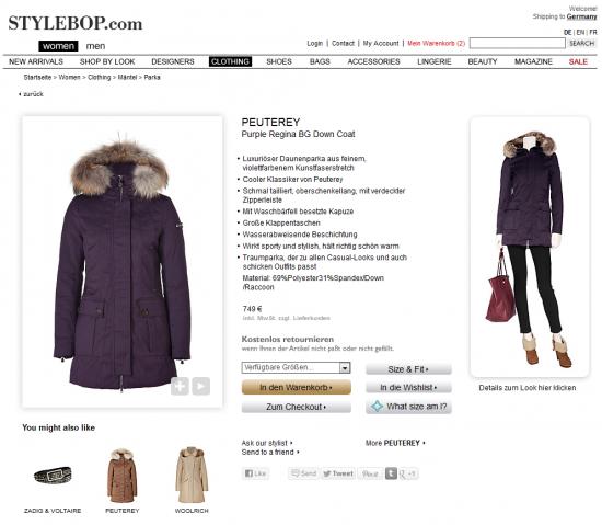 Stylebop - Produktdetailseite