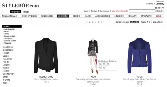 Stylebop - Produktübersichtsseite