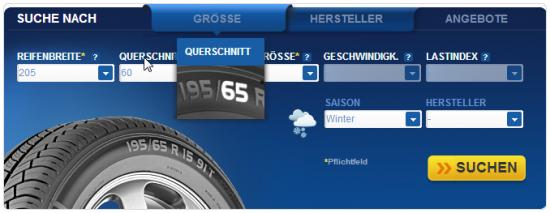 euromaster.de - Reifensuche mit visueller Unterstuetzung per Mouseover