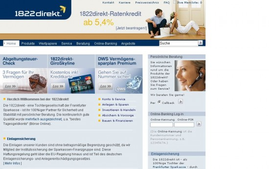 Website der 1822direkt 2008