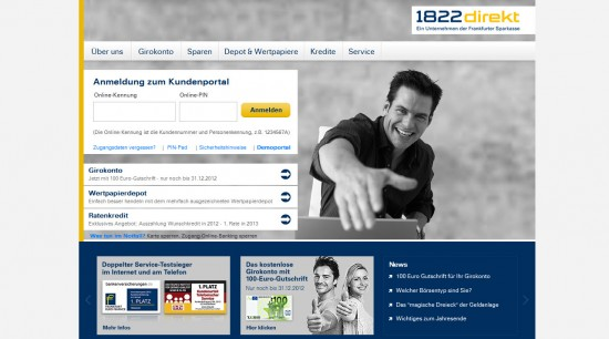 Website der 1822direkt 2012