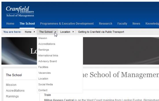 Abb. 1: Die Breadcrumbs der Cranfield University bieten ein Dropdown-Menü für weitere Navigationsmöglichkeiten.
