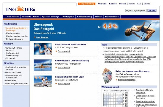 Website der ING Diba 2008
