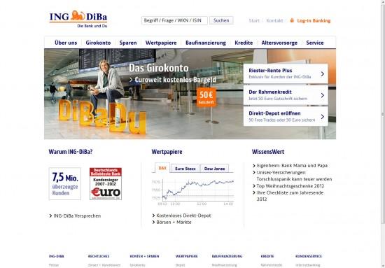 Website der ING Diba 2012