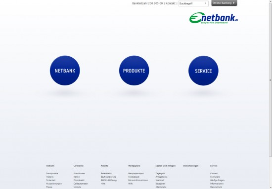 Website der Netbank 2012