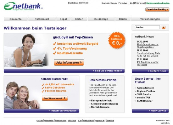 Website der Netbank 2008