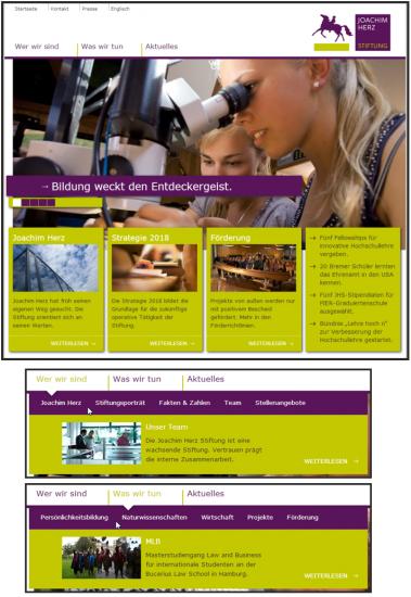 Abb. 2: Startseite der Joachim Herz Stiftung