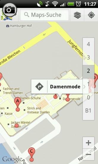 Navigationspunkte im Gebäude