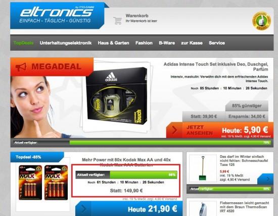 Knappheit im Online-Shop