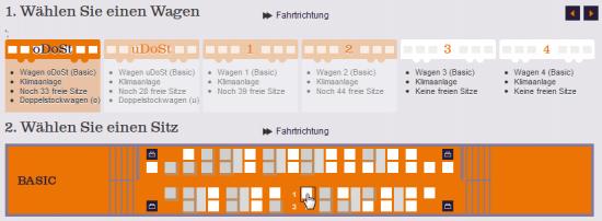 Der HKX gestaltet die Wagenauswahl grafisch und zeigt die wichtigsten Infos zu jedem auf einen Blick
