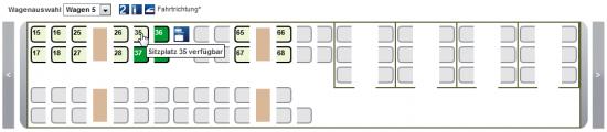 Die Deutsche Bahn verdeutlicht das Layout der Wagen durch eine klare, reduzierte Darstellung wichtiger Details