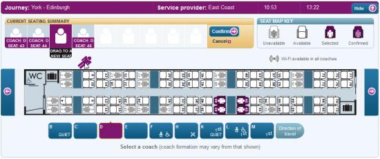 East Coast Main Line zeigte alle Reisenden in einer Übersicht und erlaubt Drag&Drop