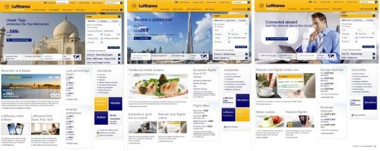 Die Startseiten von Lufthansa für Deutschland, England und Ägypten