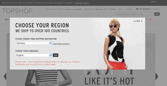 Landes- und Sprachauswahl bei Top Shop