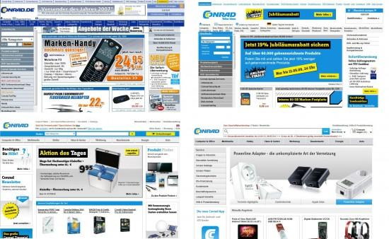 Navigation und Suche auf conrad.de 2007, 2009, 2011, 2013