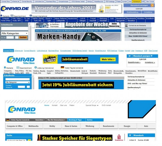 Header auf conrad.de 2007, 2009 und 2010