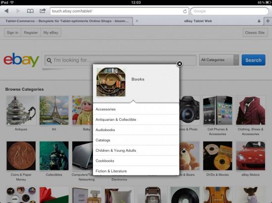 Visueller Navigationslayer Startseite touch.ebay.com
