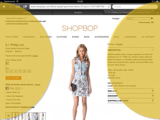 Produktdetailseite shopbop.com