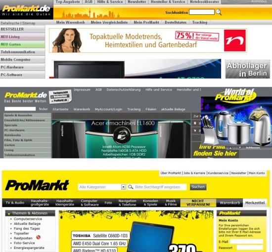 Suche auf promarkt.de 2007, 2009, 2012
