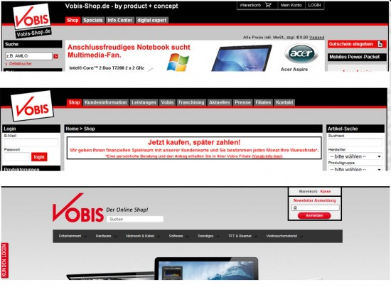 Header auf vobis.de 2007, 2009 und 2012