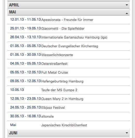 Übersicht Veranstaltungen Hamburg