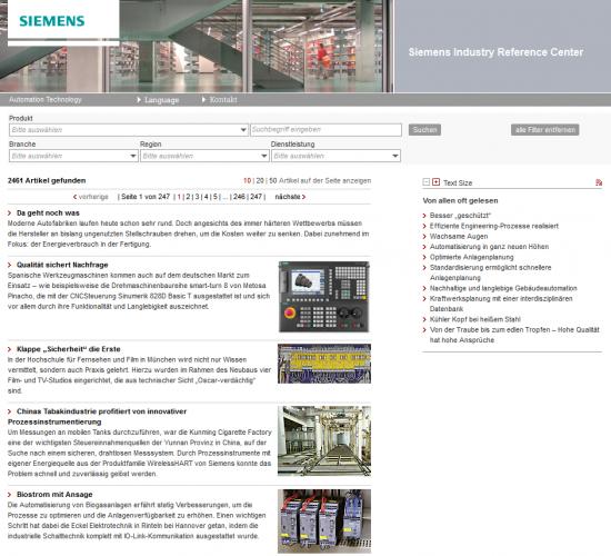Die Referenzdatenbank von Siemens