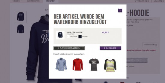 mexx.de Warenkorblayer