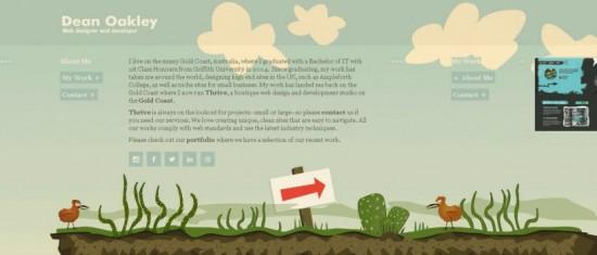 """Ein großer roter Pfeil in der Mitte der Seite gibt die Scrollrichtung vor. Rechts befinden sich zum weitere Inhalte, die leicht """"angeschnitten"""" sind. (Quelle: http://deanoakley.com/)"""