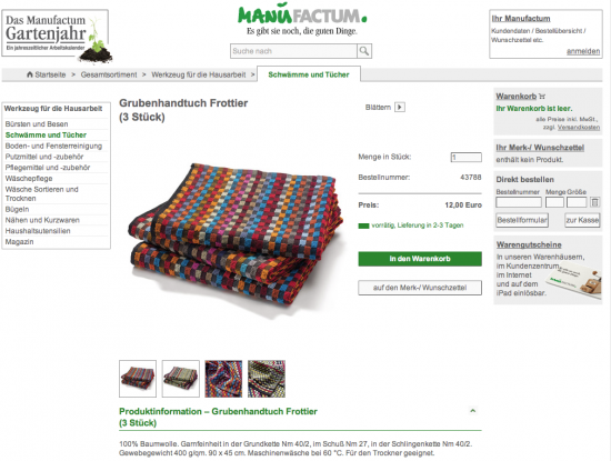 Screenshot Website Manufaktum-Shop