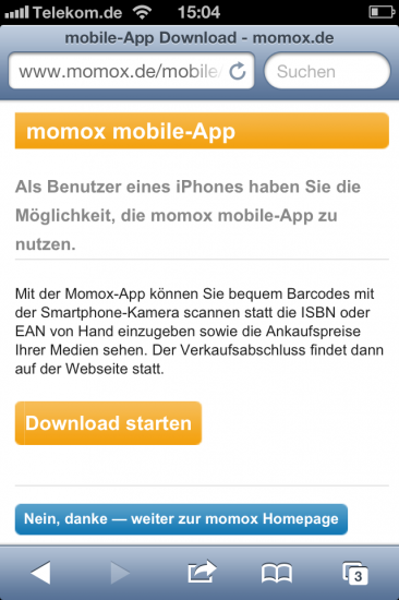Screenshot Website Momox auf dem iPhone