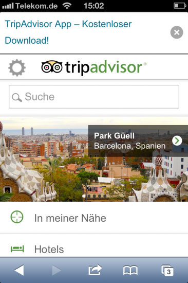 Screenshot Website Tripadvisor iPhone