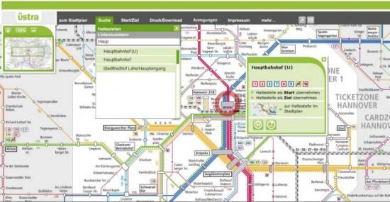 Interaktive Karte bei der ÜSTRA
