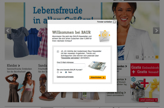 Newsletter-Layer bei Baur