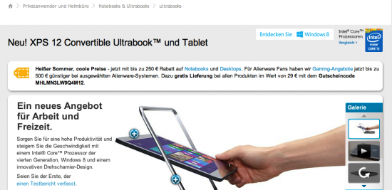 Screenshot Dell Produktseite