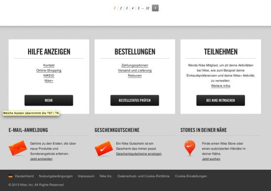 Screenshot Seitenfuß Nike