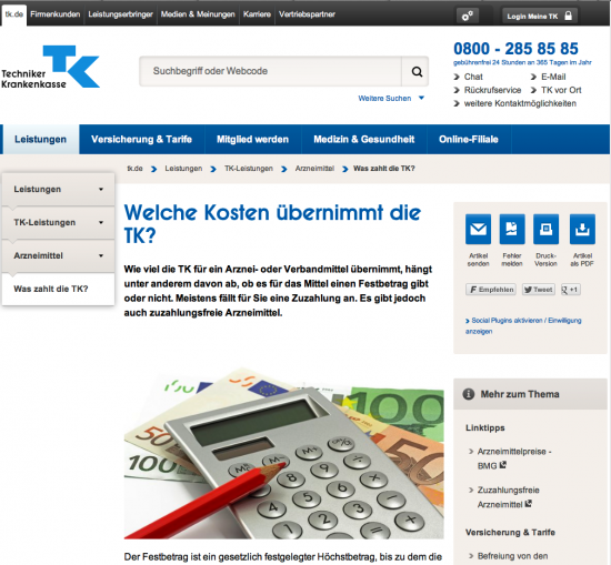 Screenshot Techniker-Krankenkasse-Website