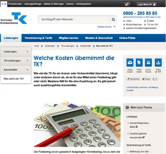 Screenshot Techniker-Krankenkasse-Website