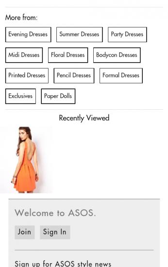 m.asos.com: Weiterführende Optionen am Ende der Produktdetailseite