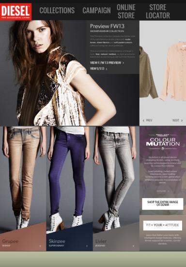 diesel.com: Keine Produktdetailseite, aber so könnte Cross-Selling aussehen – zum Aufklappen & nah am Produkt