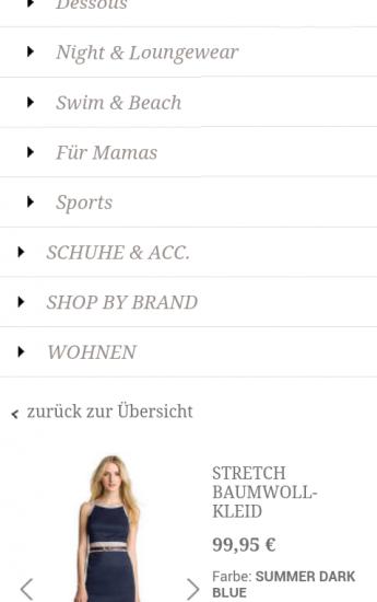 m.esprit.de: Der Navigationsbaum ist immer über der Produktdetailseite verfügbar
