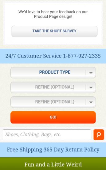m.zappos.com: am Ende der Produktdetailseite, können die Nutzer leicht in eine andere Kategorie wechseln oder eine neue Produktsuche starten
